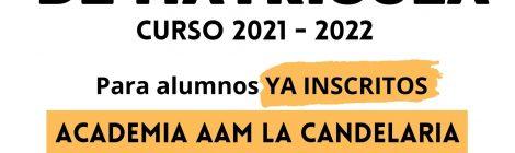 Abierto el plazo de Renovación y Nueva Matrícula 2021-2022 en nuestra Academia